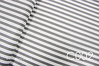 Ткань сатин Полоска серая 15 мм, фото 1