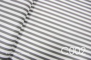 Ткань сатин Полоска серая 15 мм