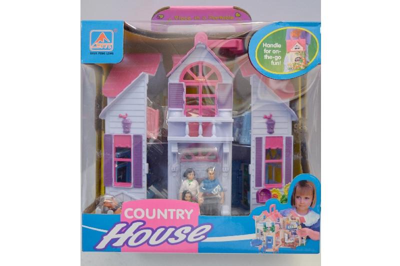Домик детский №F611раскл. с фигур.мебел,  в коробке: 27*26*18см