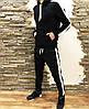 Мужской спортивный зимний костюм с флисом на манжете черный