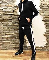 Мужской спортивный зимний костюм с флисом на манжете черный, фото 1