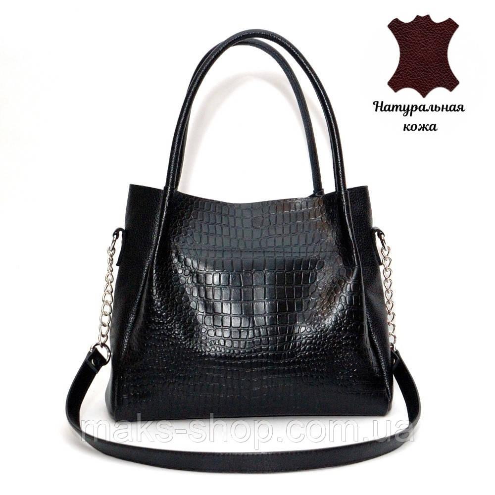 0e50058d8501 Элегантная женская сумка из натуральной кожи под рептилию Верона черная -  Maks Shop- надежный и