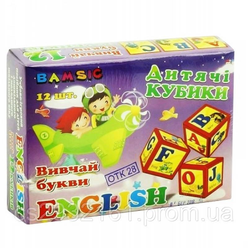 """Кубики """"Английский"""" 12 шт.   БАМСИК"""