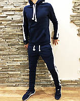 Мужской спортивный зимний костюм с флисом на манжете темно синий, фото 1