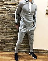 Мужской спортивный зимний костюм с флисом на манжете серый, фото 1