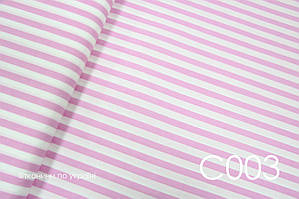 Тканина сатин Смужка рожева 15 мм