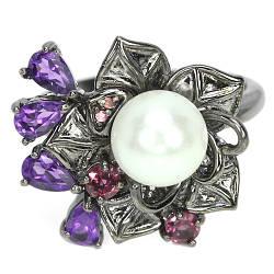Серебряное кольцо с натуральными Родолитом Аметистом и Жемчугом