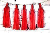 Бумажная гирлянда тассел из кисточек тишью красный ( 5 шт) длина  кисточки 35 см