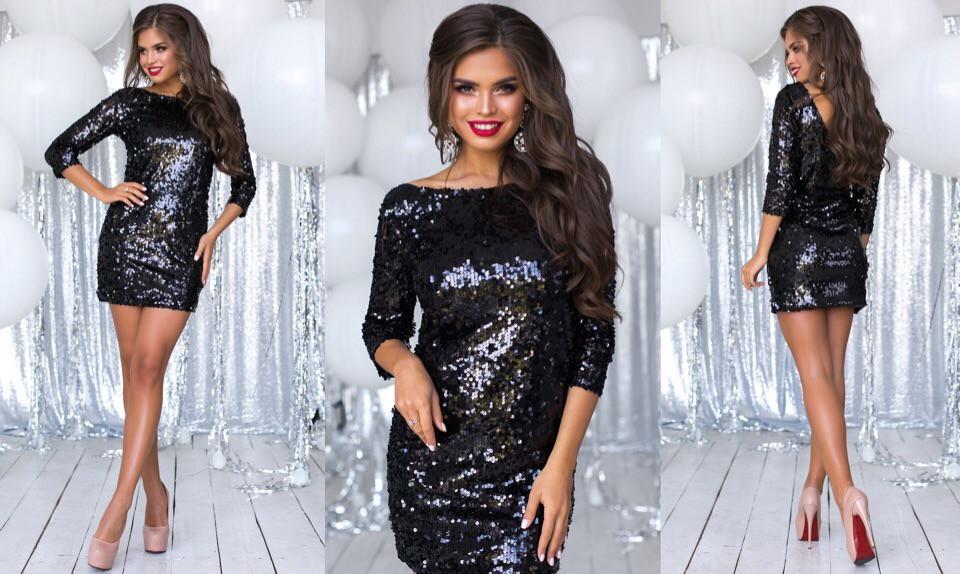 Нарядное платье с  пайеткой, двухстороннее, можно носить вырезом на спинке или спереди, цвет - черный, фото 1