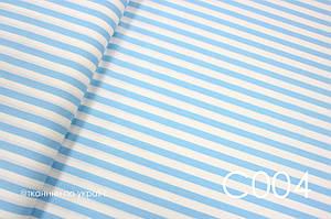 Тканина сатин блакитна Смужка 15 мм