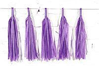 Бумажная гирлянда тассел из кисточек тишью сиреневый( 5 шт) длина  кисточки 35 см