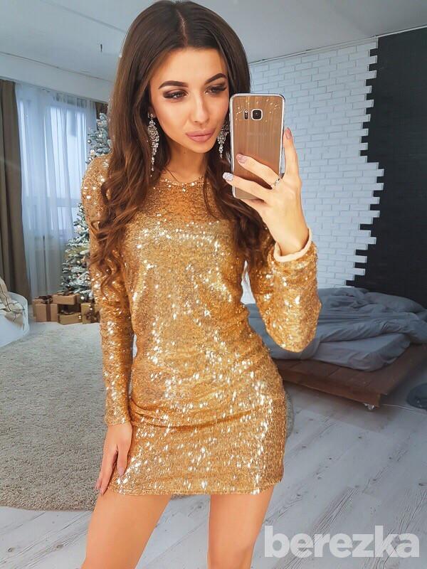 Нарядное платье с пайеткой, цвет - золото