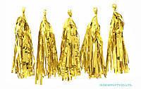 Фольгированная  гирлянда тассел из кисточек тишью золото ( 5 шт) длина  кисточки 35 см