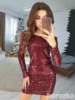 Нарядное платье с пайеткой, цвет - бордо
