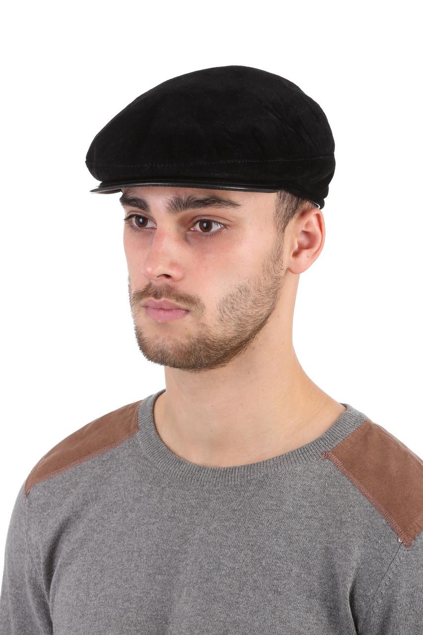 Кепка  мужская из натуральной замши черная