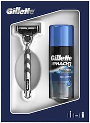 Подарочный набор Gillette Mach3  Бритва Gillette Mach3 + Гель для бритья Gillette Mach3 Экстра Комфорт 75 мл