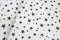 Ткань сатин Звёзды черные ОСТАТОК 100*80, фото 1
