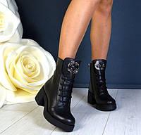 Высокие ботинки на шнуровке женские кожа черные серебро TOPs1353