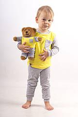 Комплект пижамка и мишка Lucky Friend 92 см Желто-серый LF003, КОД: 261713