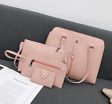 Набір жіночих сумок 4в1 зі стильною блискавкою, фото 3