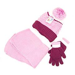 Шапка шарф перчатки Suve для 7-12 лет Розово-бордовый TUR 50217 pink-bordo, КОД: 152786