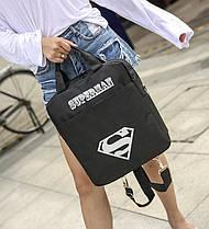 Модный тканевый рюкзак-сумка со светящимся знаком супермен , фото 2