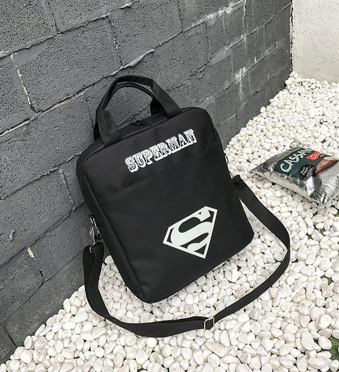 Модный тканевый рюкзак-сумка со светящимся знаком супермен