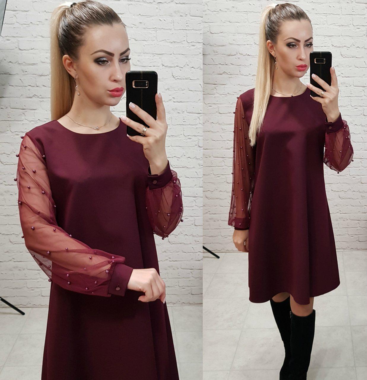 Платье женское, креп+сетка, модель 144, цвет - марсала