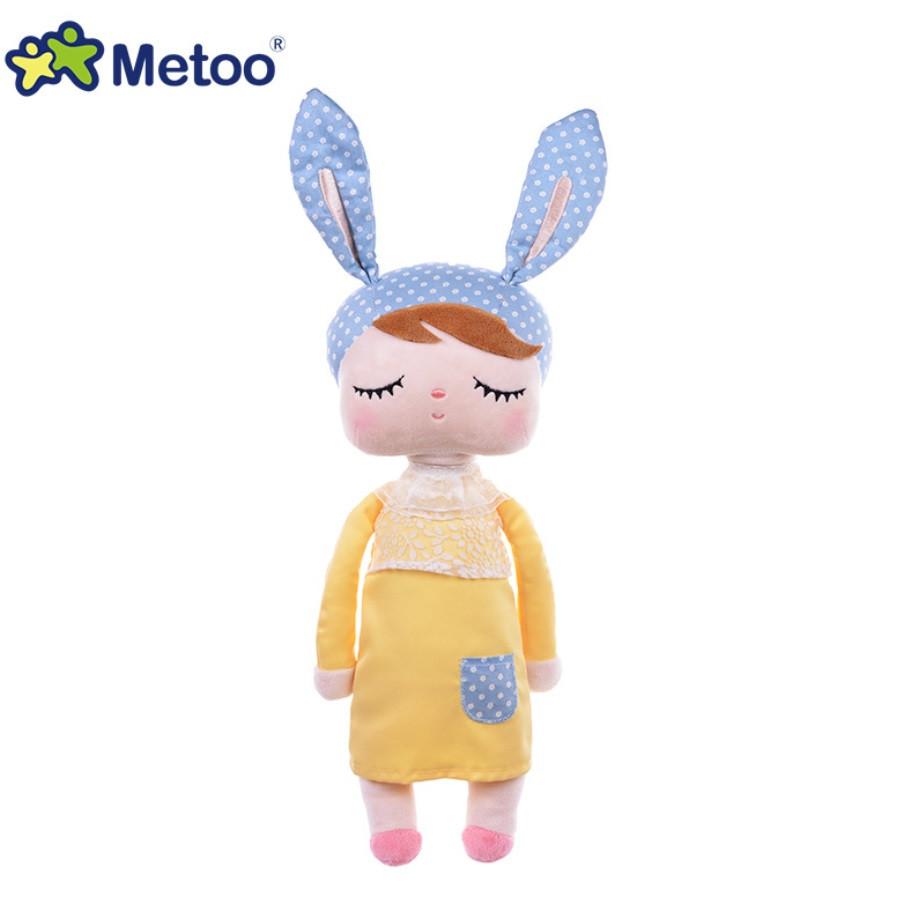 Игрушки в кроватку-мягкая игрушка-сплюшка зайка-сплюшка Metoo Анжела в желтом платье+подарочный пакет