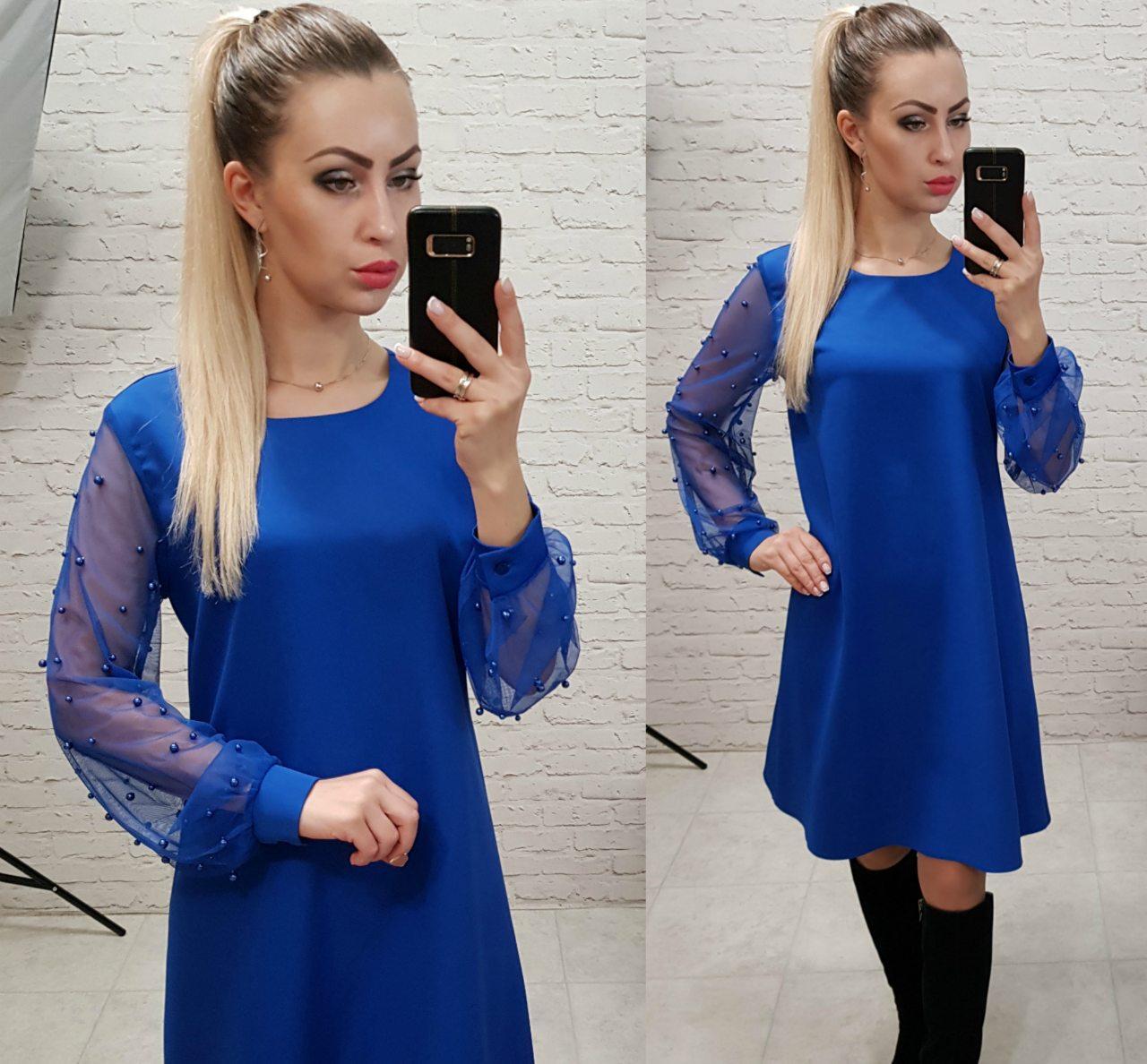 Платье женское, креп+сетка, модель 144, цвет - электрик