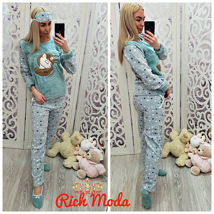 Домашний костюм очень тёплый, пижама. С повязкой на глаза+тапочки-носочки. Турция, от 42 до 50размера, фото 2