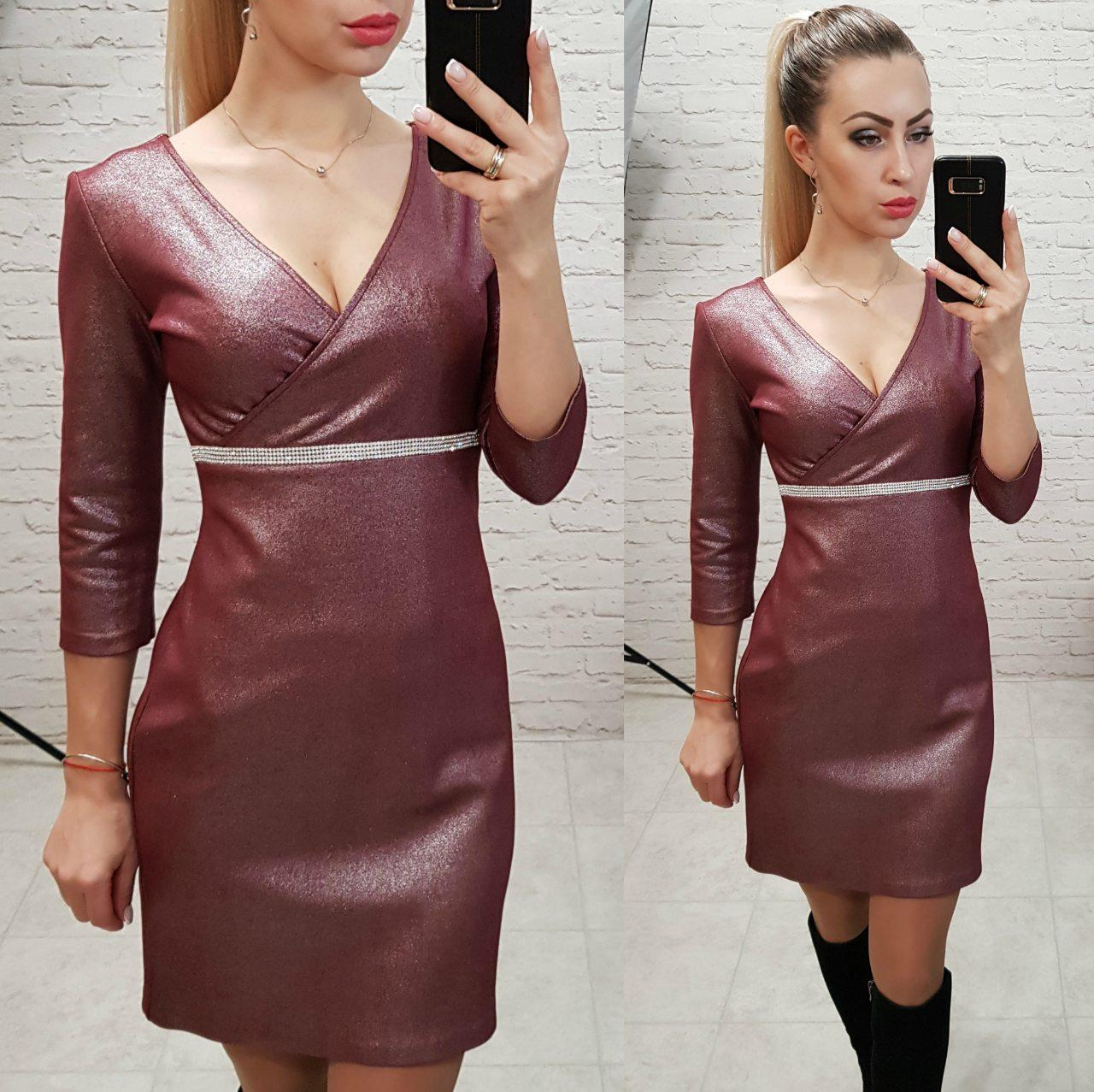 Платье женское, замша, модель 145, цвет - марсала