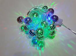 Гирлянда декоративная Delux Шарики серебристые 3.5 м 230BS, КОД: 155188