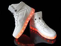 Кроссовки светящиеся высокие White 681
