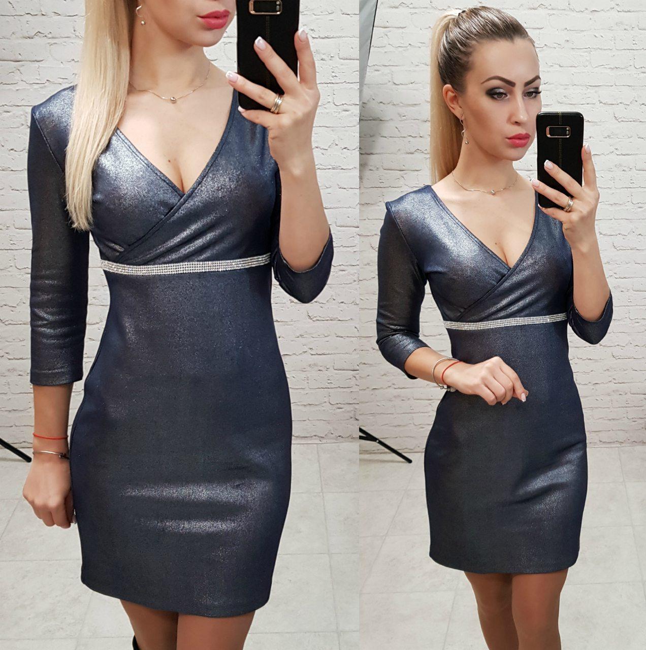 Платье женское, замша, модель 145, цвет - синий