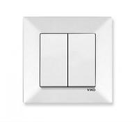 Выключатель двухклавишный белый Viko Meridian