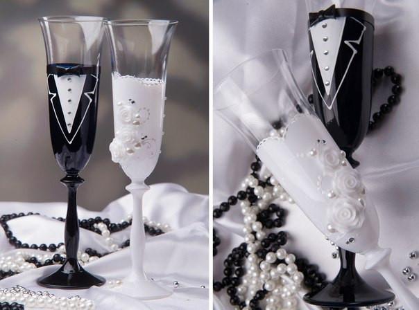 """Бокалы черно-белые """"жених и невеста"""""""