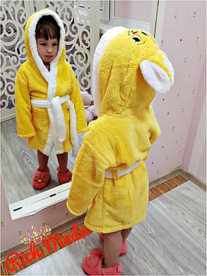 """Халатик махровый детский """"Маленькая Зайка"""" Хит сезона!!! От 3х до 10 лет. Турция!  желтый, фото 2"""