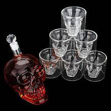 Подарочный набор Графин большой в форме Черепа 1Л и набор из 4 стаканов Череп