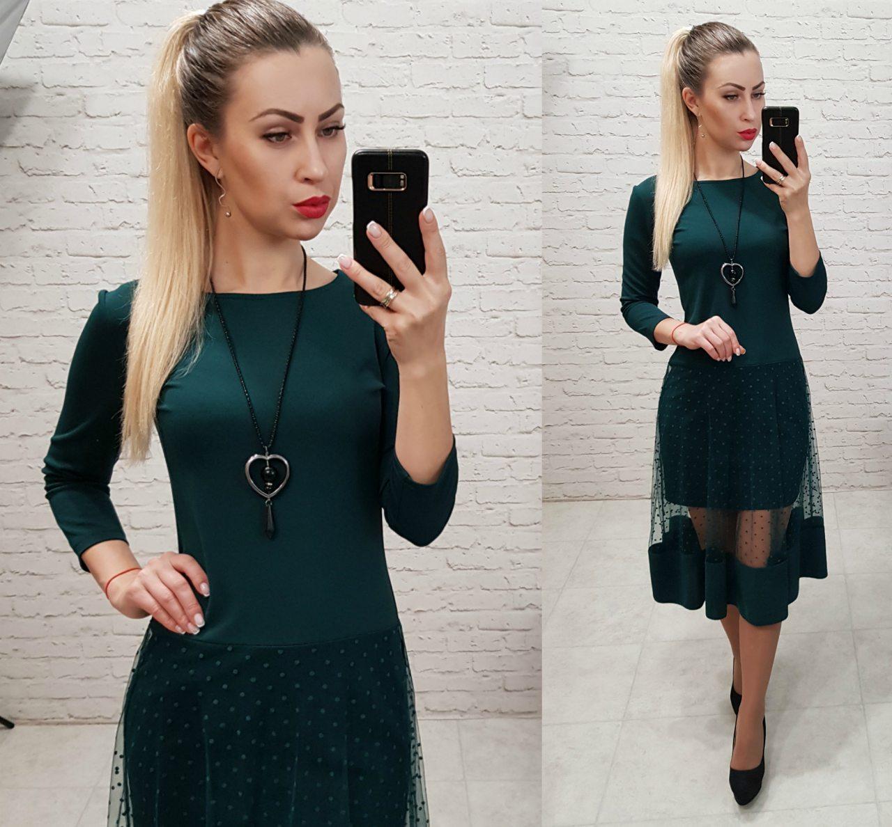 Платье нарядное, креп+сетка, модель 146, цвет - бутылочка
