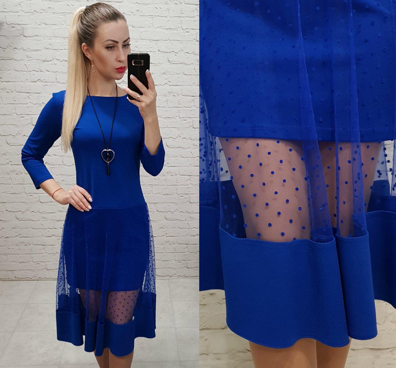 Платье нарядное, креп+сетка, модель 146, цвет - электрик