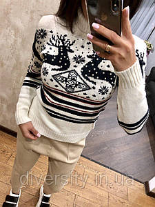 """Модный вязаный свитер под горло """"Олени"""", 5 цветов белый"""