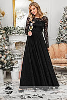Вечернее платье макси с люрексом и гипюром черного цвета. Модель 20382. Размеры 42-56