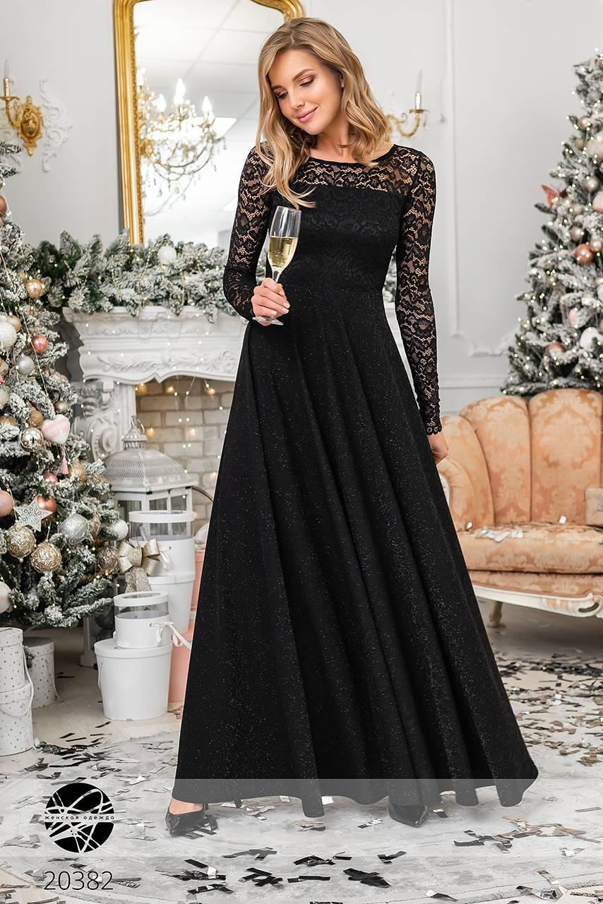 9d29961a5288477 Вечернее платье макси с люрексом и гипюром черного цвета. Модель 20382.  Размеры 42-