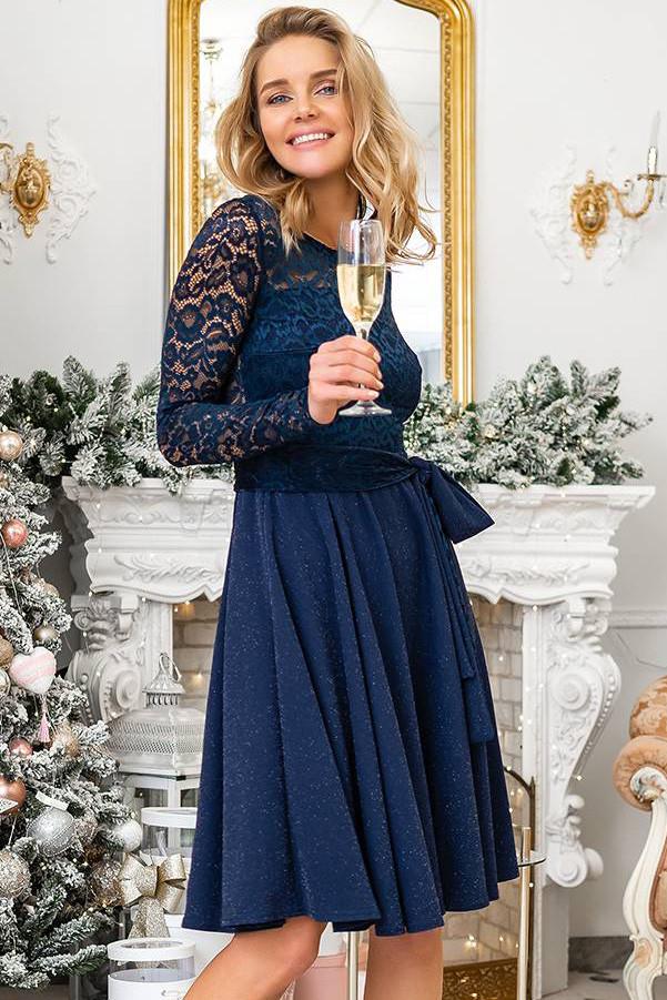 bc6825db202 Вечернее платье с гипюром и блестками синего цвета. Модель 20376. Размеры 42 -56