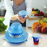 Пищевая силиконовая стрейч-крышка 6 размеров упаковывает вакуумную крышку для чаши и чашек различных размеров