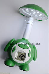Ночник на 10 LED КОТ с часами HH 518 зелёный