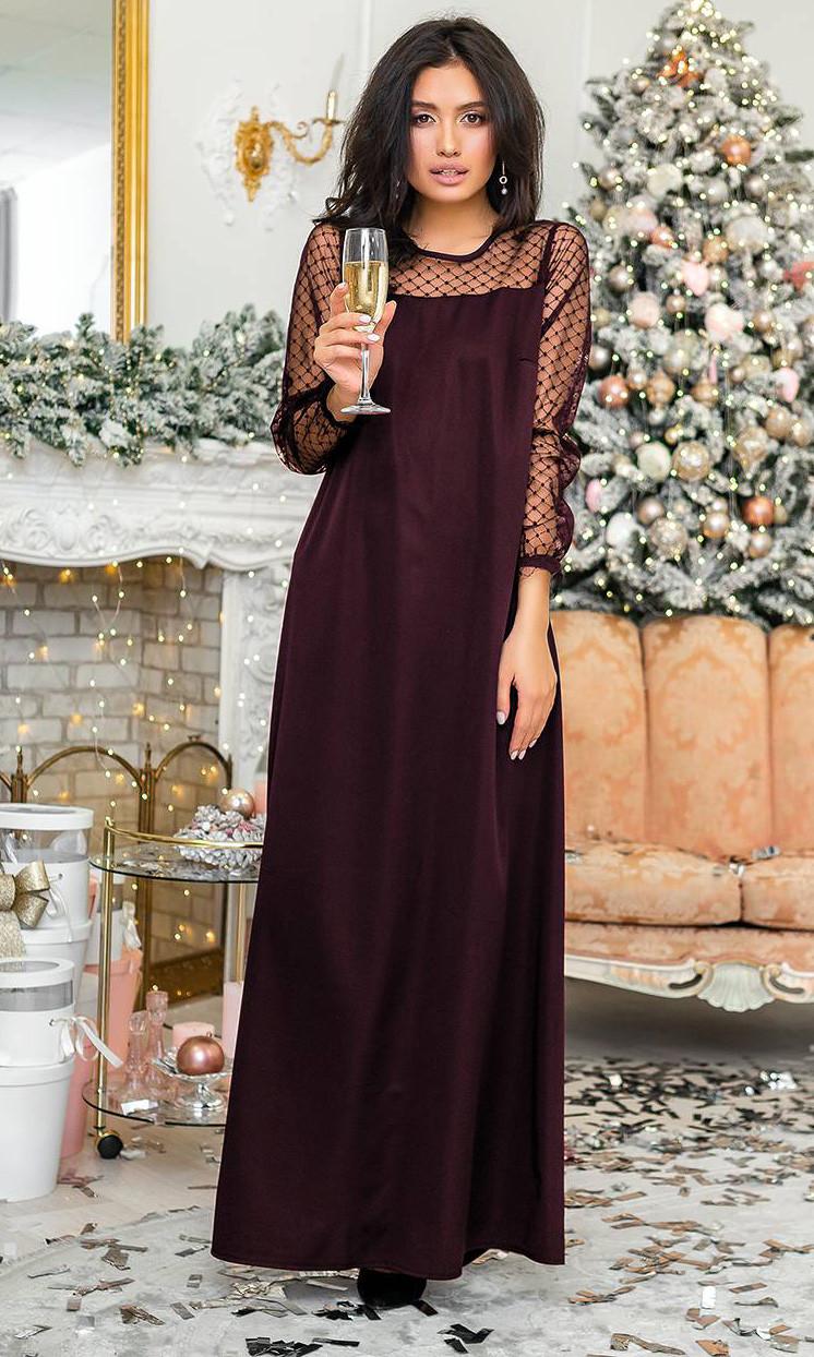 fbbde795723024a Вечернее платье макси свободного кроя бордового цвета. Модель 20398.  Размеры 42-56 -