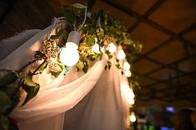 Ретро гирлянда белая 15 метров 41 лампа Эдисона LED G95 + защита от дождя IP-33 и монтажный трос в подарок