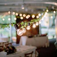 Ретро гирлянда белая 20 метров 31 лампа Эдисона LED G95 + защита от дождя IP-33 и монтажный трос в подарок, фото 1